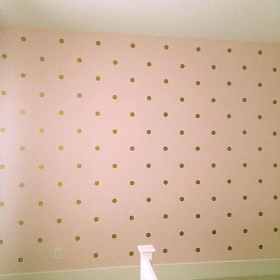 "Gold Metallic Polka Dot Wall Sticker Decor - 1"" Inch, 1.5"",2"",2.5"",3"", 3.5"", 4""  Inches Polka Dot Wall Decal"