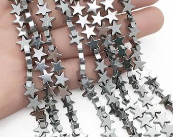 8mm Hematite Stars Beads, Silver Hematite Beads, Hematite Jewelry