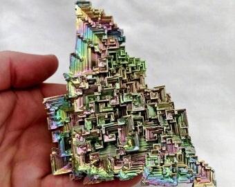 "Massive! 5.3"" Rainbow Bismuth Crystal Lab Grown Display Specimen Educational Metaphysical Metal Healing Stone"
