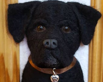 Needle felted black labrador 3d picture