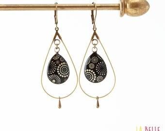 hoop earrings drops resin circle black dots