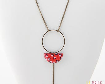 Necklace long pendant half moon resin red flower pattern