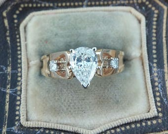 14k Gold 0.85ct Pear Center Natural Diamond Wedding Engagement Ring