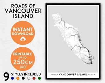 Vancouver Island map print, Printable Vancouver Island map art, Vancouver Island print, Canada map, British Columbia map, Canada print