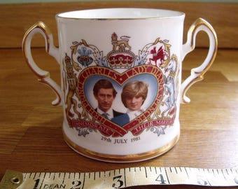 Strafford Fine Bone China Loving cup Prince Charles and Lady Diana Royal Wedding 1981
