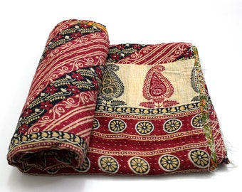 Indian Handmade Twin Size Reversible Floral Cotton Quilt Throw Embroidered Bohemian BedSpread Gypsy Blanket Ethnic Bedding Coverlet J504