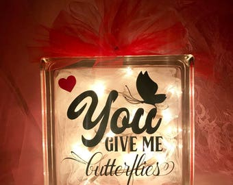 You Give Me Butterflies - Large Glass Block Light