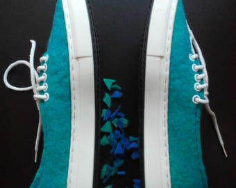 Turquoise felt shoes wool sneakers