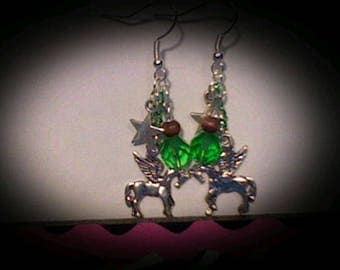Pegasus earrings sliver charms w/green bead accents.