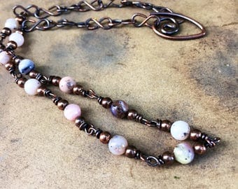 Natural Pink Opal Choker Necklace