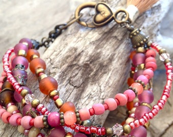 multi strands bracelet seeds tassel orange camel pink antique bronze first dibs shell boho frosted crystal