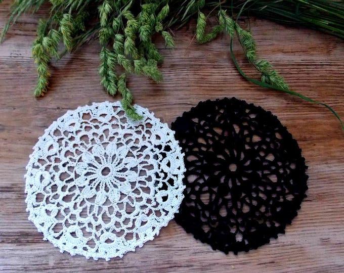 Lace napkin black white Yin and Yan crochet lace doily set of 2 crocheted decoration crochet table decorative crochet ornaments