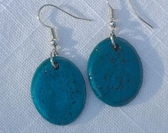 Sea Blue Earrings | Textured Turquoise Ovals on Silver Hooks