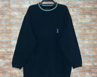 Rare!!! Vintage PLAYBOY embroidered Logo Sweatshirt Pullovers Vtg Play Boy Crewneck Jumper Jacket Size M L