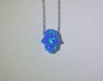 Sterling Silver Hamsa necklace Blue Opal Necklace Hand of Fatima necklace Opal Hamsa Hand Symbol necklace Kabbalah jewelry Silver Opal Hamsa