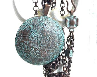 Rustic Mayan Calendar Necklace. Long Tribal Copper Pendant. Upcycled. Primitive. Ethnic Jewelry. Mystic Symbol. Verdigris Patina. Gift Idea