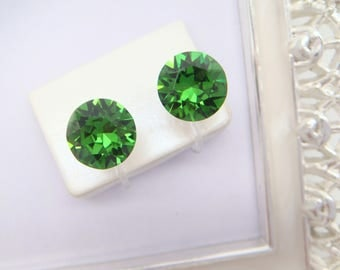 Fern Green Swarovski crystal Invisible clip on earrings,Green,Clip On Earrings,non pierced earring,Clip-ons,gift for women