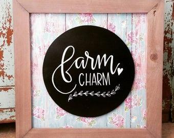 "Farm charm original design chalk art. Size is 13"" x 13""."