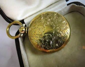 Antique Victorian Rolled Gold Keepsake Locket - Memento Mori Hair - Rare