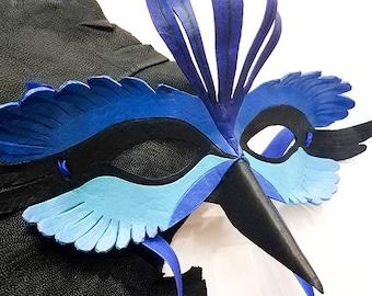 Leather Splendid Fairy Wren Mask - Made to Order
