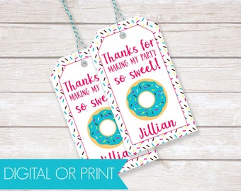 Donut Party Favor Tags, Birthday Thank You Tags, Printable Favor Tags, Printed Favor Tags, Custom Thank You Tags, Personalized Party Tags