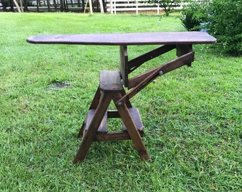 Antique primitive, Wood Ironing board, Step stool, Old Pine, Flip Top Step Stool,Table, Vintage Ironing Board, Three In One,
