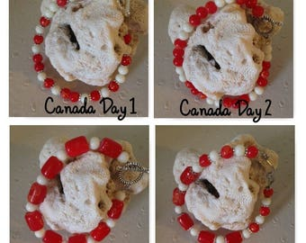 CANADA DAY bracelets #canada #day #bracelets #redandwhite #red #white #oneofakind #handcrafted #christmasbracelet