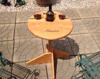 Wine Table: Outdoor folding table w/ matching stand. Wedding gift for the couple, Valentine's Day, unique gift, personalized gift for mom
