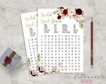 Marsala Printable Bridal Word Search Bridal Shower Game Floral QUiz Burgundy Pink Peonies Flowers Wedding Trivia Bridal Quiz - BG018