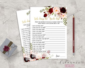 Printable Marsala Who knows the Bride Best Bridal Shower Game Floral Games Burgundy Pink Peonies Flowers Wedding Trivia Quiz - BG018