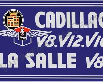 Reproduction - General Motors Cadillac La Salle V8 V12 V16 Vintage Advertising Metal Sign