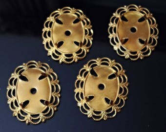 Vintage Prong Settings, 1950s Large Oval Cameo, Stone or Cabochon Bezels, Unplated Brass Stampings, Jewelry Findings, 4 pcs. /gg2
