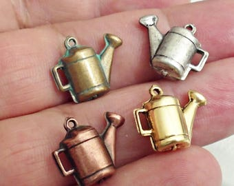 Set of 4 Rare Amazing Details 3D Mixed colors WATER CAN  brass stamping  Charm Jewelry Making /2Z