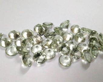 10 pieces 4mm Green Amethyst faceted round gemstone - Wholesale Natural Green Amethyst round faceted loose gemstone - green color gemstone