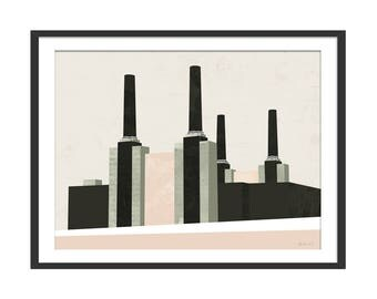 Battersea Power Station Art Print by Green Lili. Abstract Minimal Picture London Landmark. Power Station Print. Wall Art Gift. Wall Decor