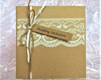 Hand Crafted Personalised Wedding Invitation Sample Rustic Vintage Lace Twine Ribbon