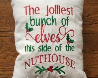 The Jolliest bunch of Elves... Handmade Embroidered Decorative Throw Pillow