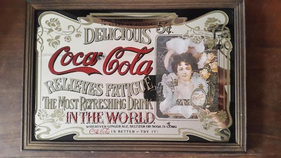 Ancien miroir publicitaire coca cola old advertising mirror for Miroir publicitaire