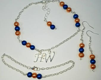 NFL Hotwife Anklet NFL Team Colors Initial Jewelry Anklet, Earring, Bracelet Jewelry Set Personalized Jewelry Sexy Anklet