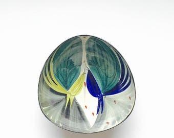 SALE Inger Waage Stavangerflint Norway vintage mid century modern hand painted Bird design Scandinavian Pottery large deep sided Bowl