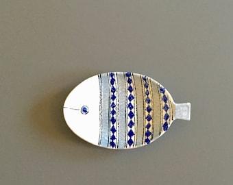 Mid century Bitossi Fish shaped Dish signed Aldo Londi 1950s hand painted Italian Pottery