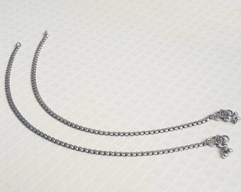 Ethnic Chain Anklets | Christmas Gift Jewelry anklet | Silver Plated anklet | Barefoot girls anklets | Tribal Indian jewelry anklet | A193