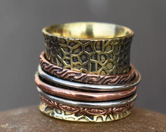 Texture spinner rings | Ethnic brass jewelry ring | Tribal bohemian rings | Narrow fusion rings | Traditional Banjara jewelry rings | R219