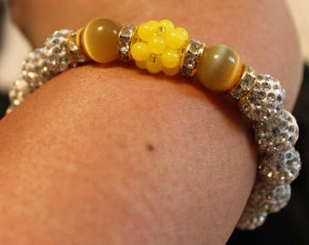 Cute Czech Crystal disco ball Rhinestone-beaded bracelet; shamballa, beadweaving, handmade, white, yellow, casual wear, party wear