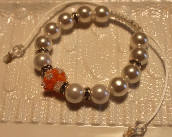 Beautiful Pearl & glass-beaded bracelet in white and orange; handmade, shamballa, beadweaving, cute, casual-wear, party-wear