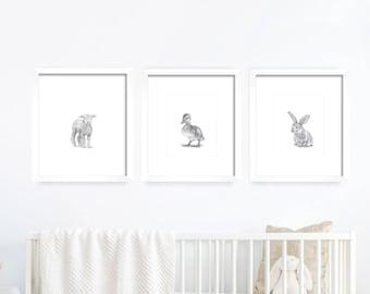 Baby Animal Nursery Art. Baby Animals, Nursery Art. Nursery Decor, Nursery Print. Baby's Room Decor. Animal Drawing. Kid's Wall Art.