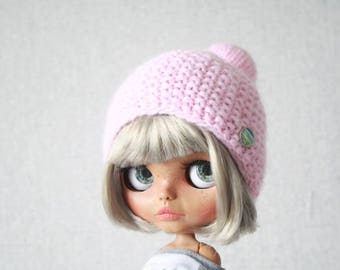Knitted hat with pompon for custom 1/6  Blythe doll