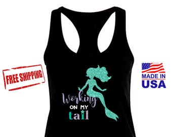 Working On My Tail, Working On My Tail Tank Top Shirt, Free Shipping