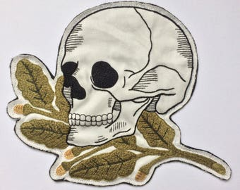 Large Hand Embroidered Skull and Oak Leaves Patch