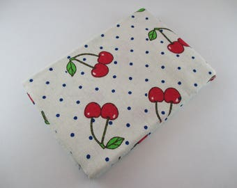 Coupon printed fabrics, cherry print, 70% cotton, 10% linen, 20% polyester, 72 x 98cm.